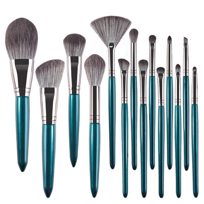14 шт деревянные ручные наборы кистей для макияжа кисть для бровей кисть для теней кисть для бровей профессиональный макияж кисти для макияж...