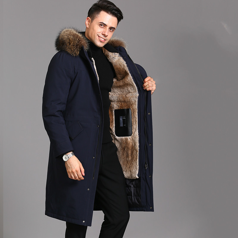 Real Fur Coat Men Rabbit Fur Coat Winter Jacket Men Goose Down Jacket Warm Parkas Plus Size Jackets Casaco ZJ88217 YY1099