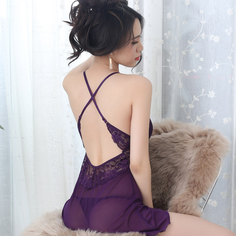 LKlady Lace Temptation Sexy Lingerie Set Transparent Mesh Sexy Nightshirt Ladies Strap Nightdress Lace Nightclothes