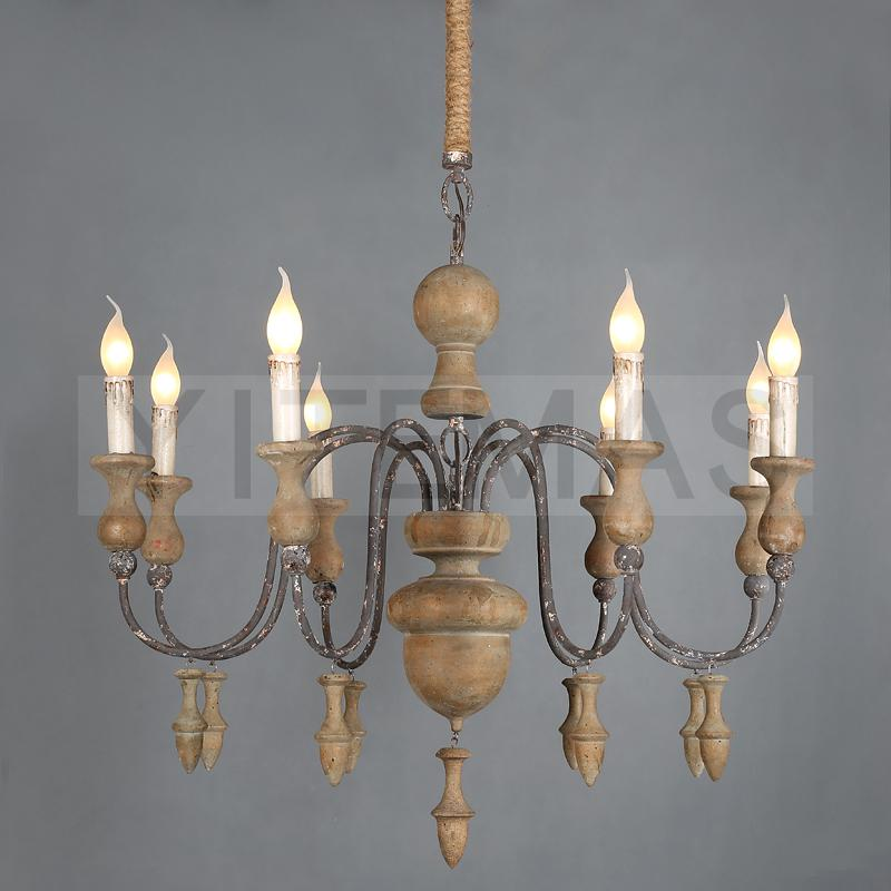 French Chandeliers Living Room Dining Room Bedroom American Creative Wooden Beads Retro Chandelier D61/85cm Candle Light