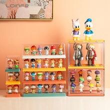 Transparente mistério caixa pop mart caixa de armazenamento de 3 camadas kit de garagem colecionáveis figuras exibir caso caixa cega boneca modelo organizador