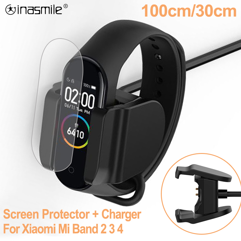 Charger For Xiaomi Mi Band 2 3 4 Charger Cable Data Cradle Dock Charging Cable For Xiaomi MiBand 4 USB Charger Screen Protector