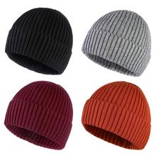 Beanies New Solid Knitted Hat Winter Thick Warm Soft Trendy Hats Simple For Men And Women Wool Casual Caps Elegant All-match Cap