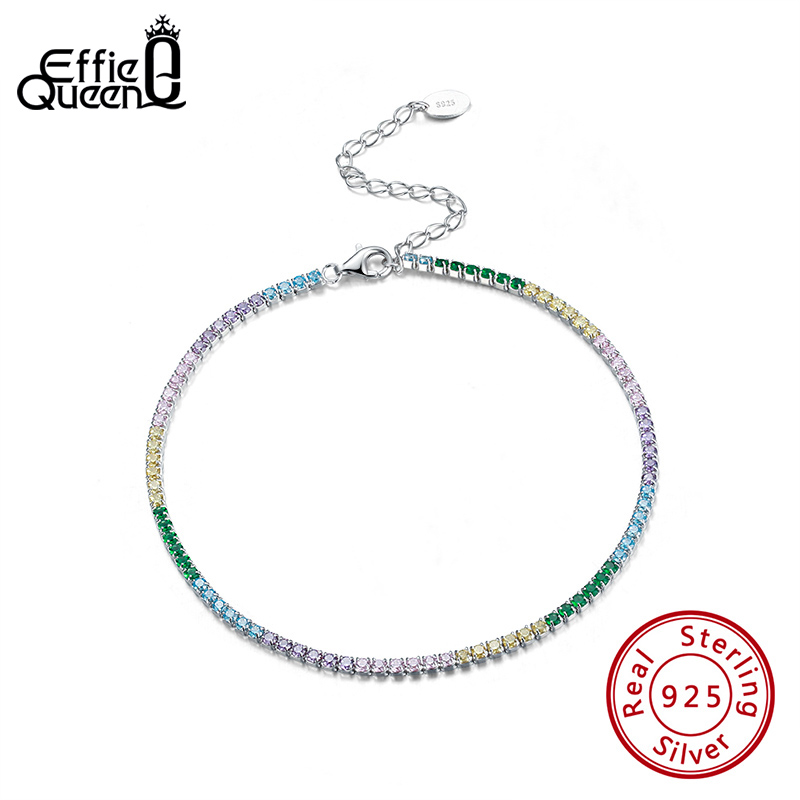 Effie Queen Stylish Shiny Rhinestone Foot Bracelet Lady Anklets Genuine 925 Silver Pave Full Zircon Anklet Lady Leg Gift SA04