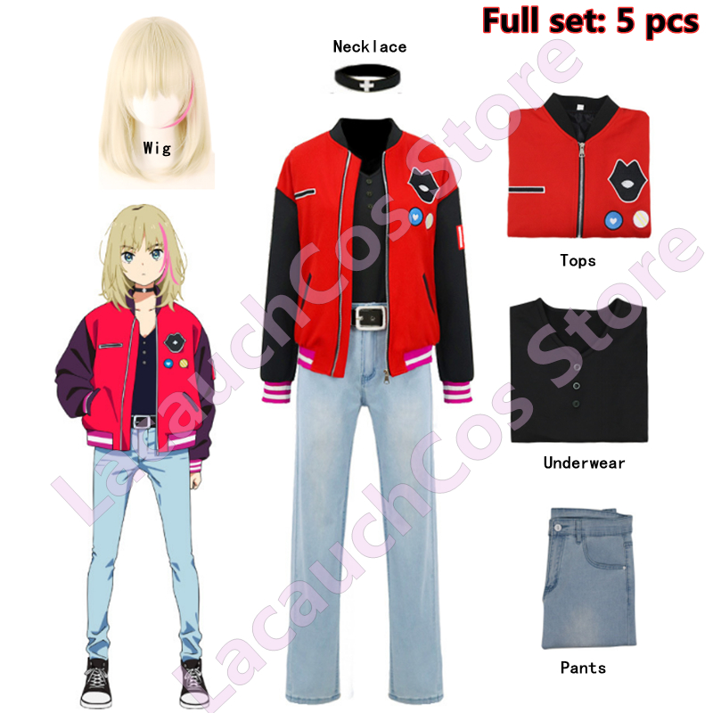 Cosplay Costume Anime WONDER EGG PRIORITY Kawai Rika Uniform Suit Fashion Red Jacket Jeans Tops Wig