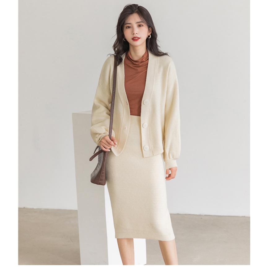 H1482e35cdba843c9a493203fc5c568cei - Autumn / Winter V-Neck Cardigan and Solid Midi Pencil Skirt