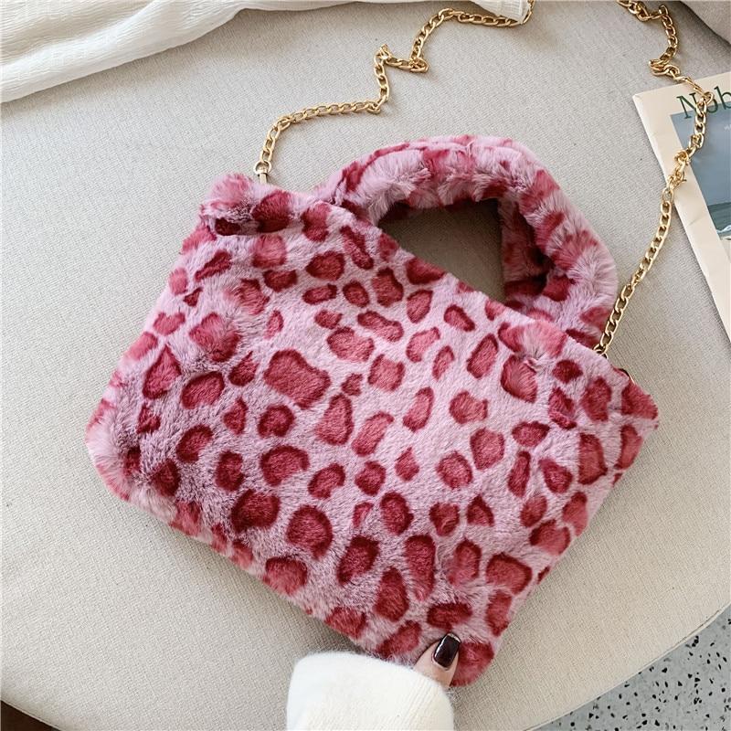 Winter new fashion shoulder bag female leopard female bag chain large plush winter handbag Messenger bag soft warm fur bag 13