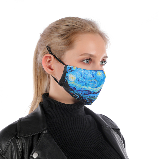 Zohra VINCENT VAN GOGH ART Printing Reusable Protective PM2.5 Filter mouth Mask anti dust Face mask bacteria proof Flu Mask 2