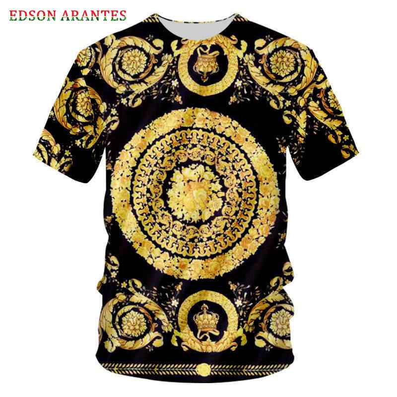Plus Größe S-7XL Palace Barock Crown Floral T hemd Männer Frauen Retro 3d Königliche Blume Drucken Casual T-shirts Unisex Sommer tops T