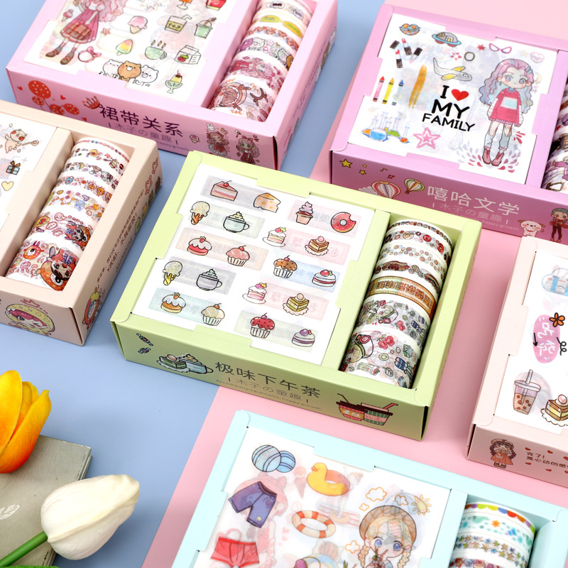 9+7pcs Gift Package Sticker Washi Tape Set Cute Dessert Girl Paper Tapes For Journal Scrapbooking DIY Deco Kawaii Masking Tapes