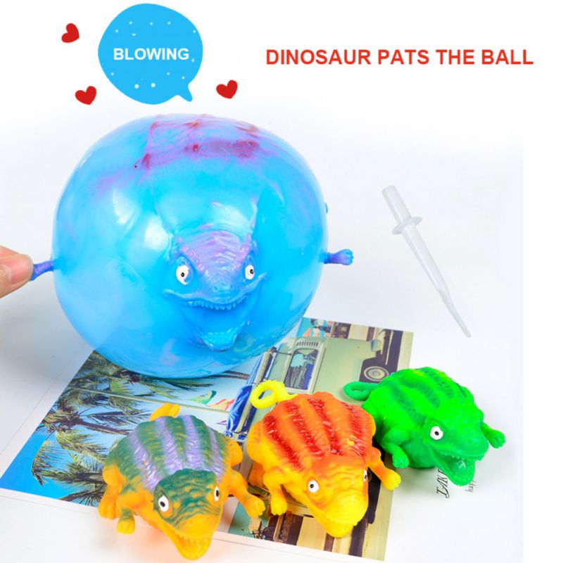 2019 Cute Kids Toy Children Funny Blowing Animals Toys Dinosaur Anxiety Stress Relief Inflatable Balloon Squeeze Ball Random