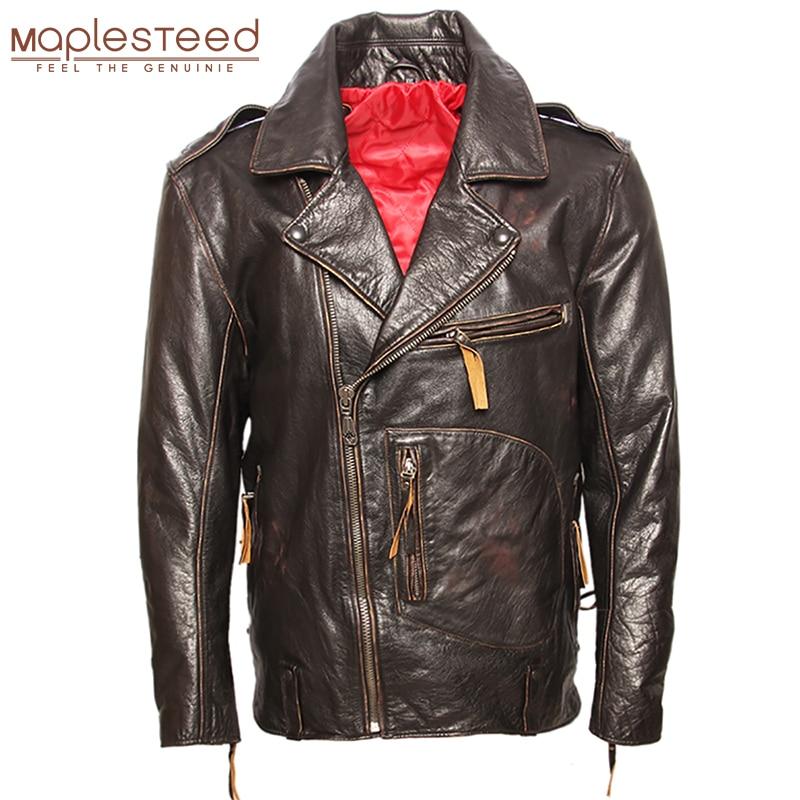 MAPLESTEED Vintage Original Pilot Leather Jacket Men Genuine Cow Motorcycle Male Vintage Jacket Red Brown Motor Biker Coat M105