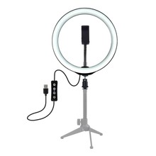 Lampa pierścieniowa LED z zestaw stojaków USB możliwość przyciemniania do Selfie Video Live 10 cali zestaw fotograficzny do smartfona Youtube Makeup Video tanie tanio ISHOWTIENDA Oświetlenie fotograficzne Akumulator Dotykowy włącznik wyłącznik Wolnostojące Nikiel szczotkowany LED Ring Light