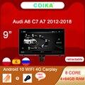 Автомобильная Мультимедийная стереосистема, 8 ядер, Android 10, для Audi A6 C7 A7 2012-2018, Wi-Fi, 4G, 4 + 64 Гб ОЗУ, Carplay, IPS, сенсорный экран, GPS-навигатор