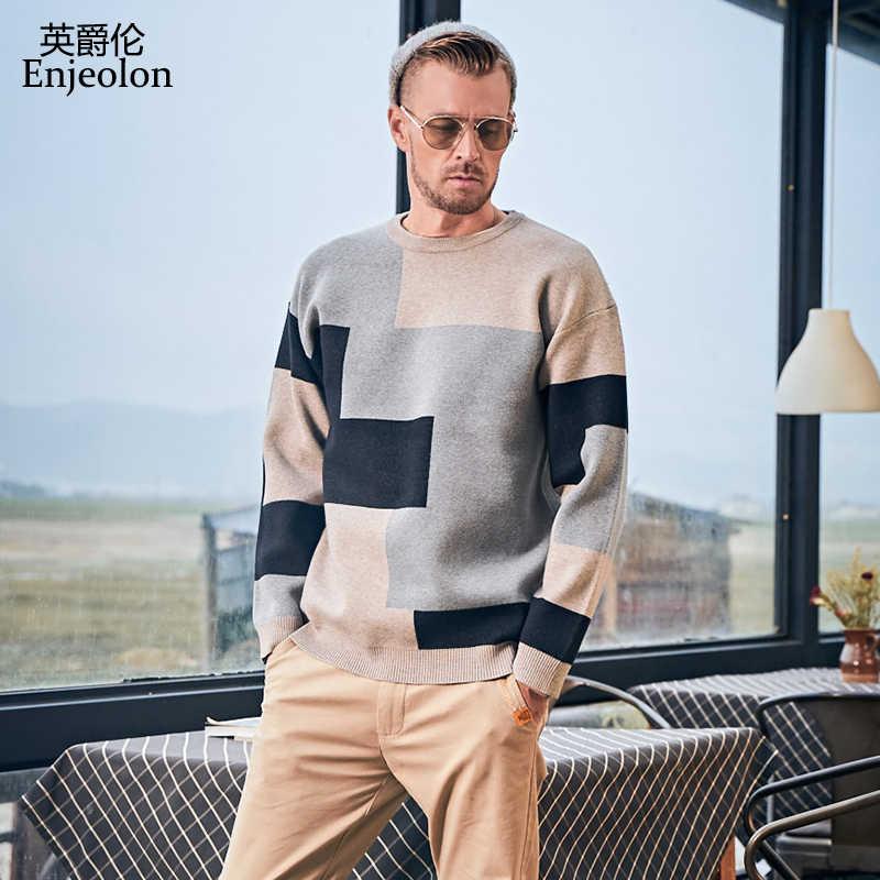 Enjeolon 스웨터 남자 2020 새로운 도착 캐주얼 풀오버 남자 가을 o 목 패치 워크 품질 니트 브랜드 남성 스웨터 my3441