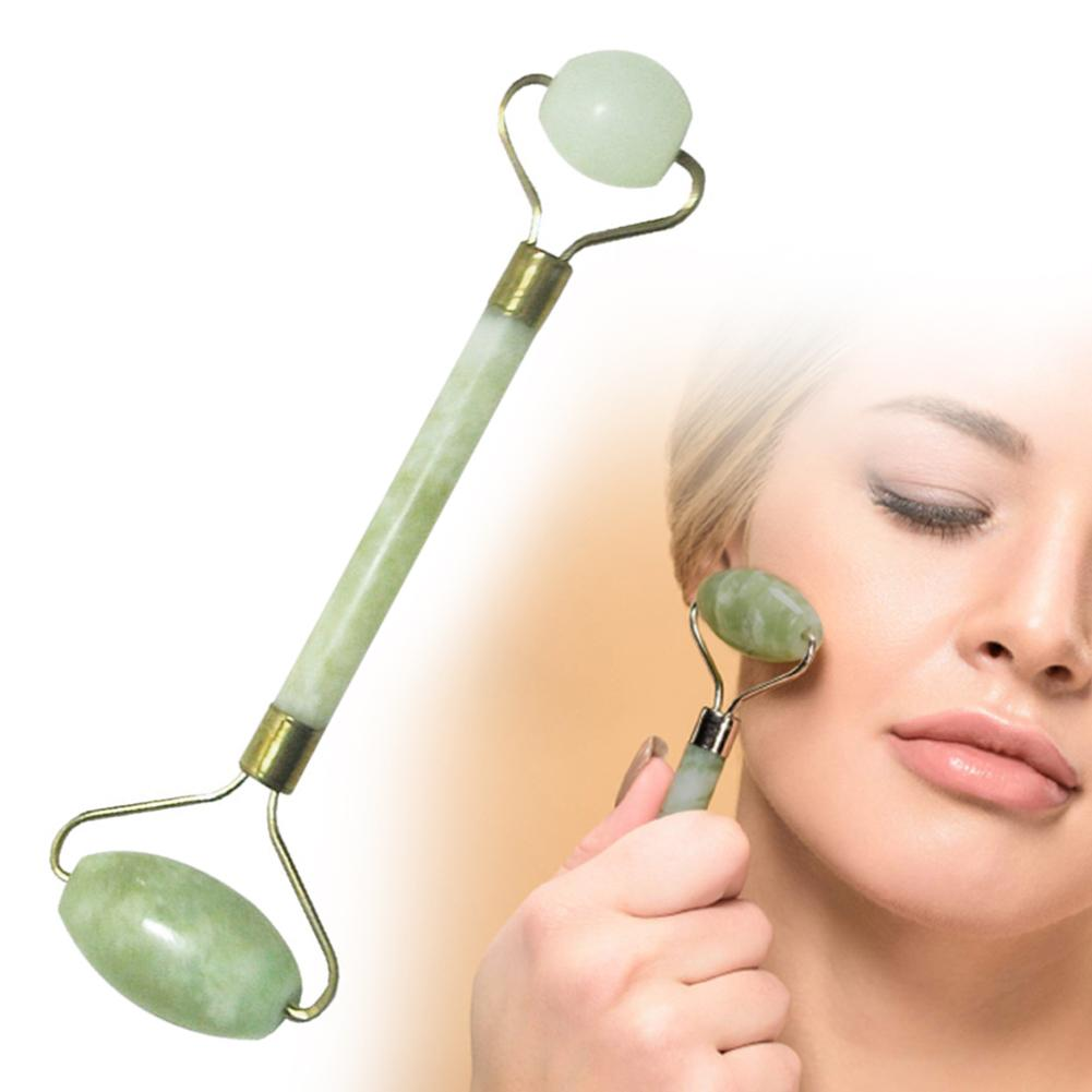 Dual Heads Jade Roller Facial Massage Wrinkles Puffiness Smoother Skin Care Tool Made Of Jade, It Smoothly Rolls Across Your Ski