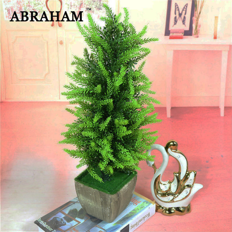 43cm Artificial Spruce Branches Bonsai Christmas Potted Tree Large Plastic Pine Fake Plant With Pot For Home Decoration Bonsai