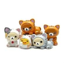 Экшн-фигурки Kawaii Rilakkuma, 5 шт./компл., ПВХ игрушки, милые Мультяшные животные, куклы, украшения для дома и автомобиля, коллекционный подарок для ...