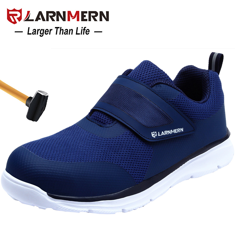 LARNMERN Men's Safety Shoes Steel Toe Construction Protective Footwear Lightweight 3D Shockproof Work Sneaker Shoes For Men