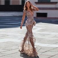 New Arrival Arabic Dubai Shiny Beaded Sequin Evening Party Formal Dresses Elegant Long Sleeves Mermaid Prom Gown Custom Made