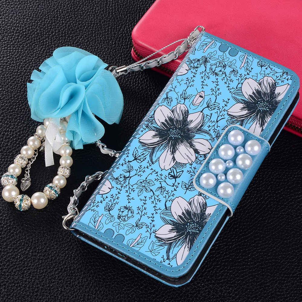 Sunjolly Chain Flower Leather Case for <font><b>Samsung</b></font> Galaxy <font><b>S10</b></font> Plus S10E S9 S8 Note 10 Plus 9 8 5 <font><b>Flip</b></font> Wallet Stand <font><b>Cover</b></font> coque capa image