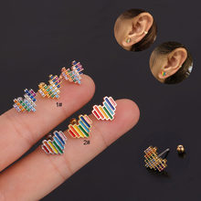 1PC Multicolor Heart Cartilage Earring Helix Tragus Daith Conch Rook Snug Helix Tragus Ear Piercing Jewelry 20G(China)
