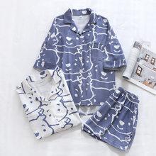 Verão novo estilo 100% puro algodão senhoras short-sleeved shorts pijamas conjunto urso dos desenhos animados estilo cómico serviço de casa conjunto de duas peças