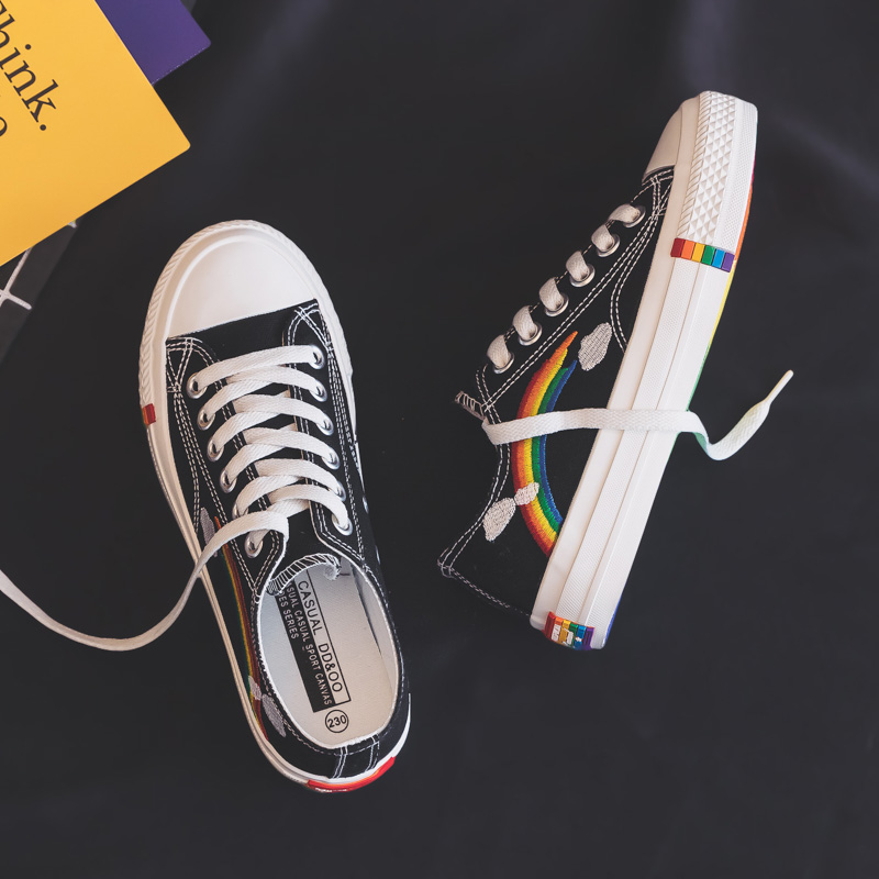 Rainbow Canvas Women Shoes 2019 New Fashion Shoes Leisure Board Shoes Retro Wild Low-top Breathable Casual Shoes Women Sneakers