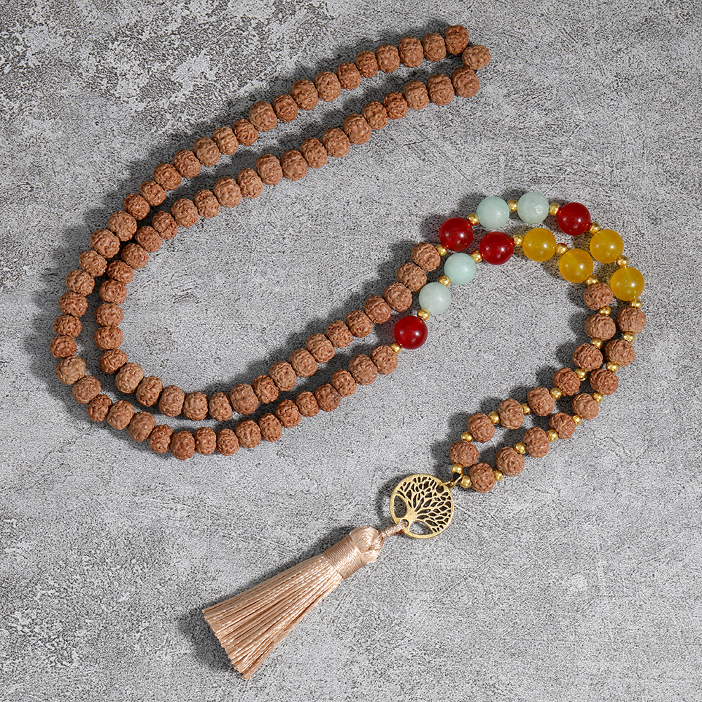 OAIITE 108 Japa Mala Necklence  Hand Knotted 8mm Natural Stone Beaded Tassel Necklace with Tree of Life Pendant