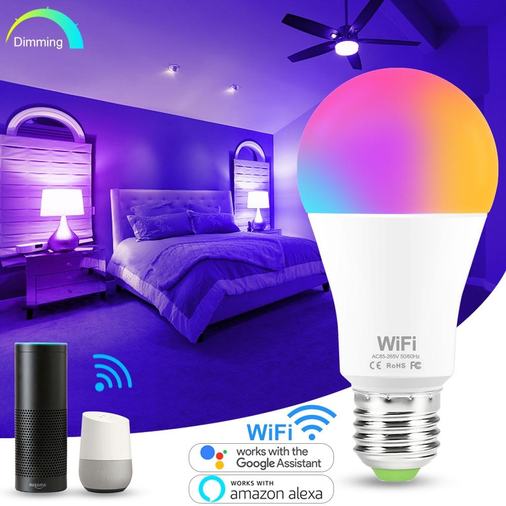 15W E27 WiFi Smart Light Bulb B22 RGB Lamp AC110V 220V RGBW RGBWW Dimmable LED Bulbs Compatible with Amazon Alexa Google Home