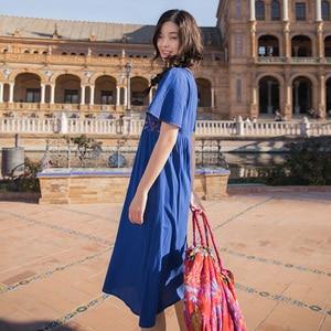 Image 2 - Женские платья INMAN, хлопковые свободные платья с высокой талией и круглой шеей в стиле ретро