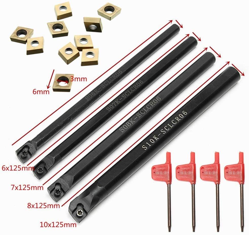 4PCS SCLCR06 S06K / S07K / S08K / S10K 95 Degree Turning Tool Holder Boring Bar + 10PCS CCMT060204 Carbide Insert Lathe Tools