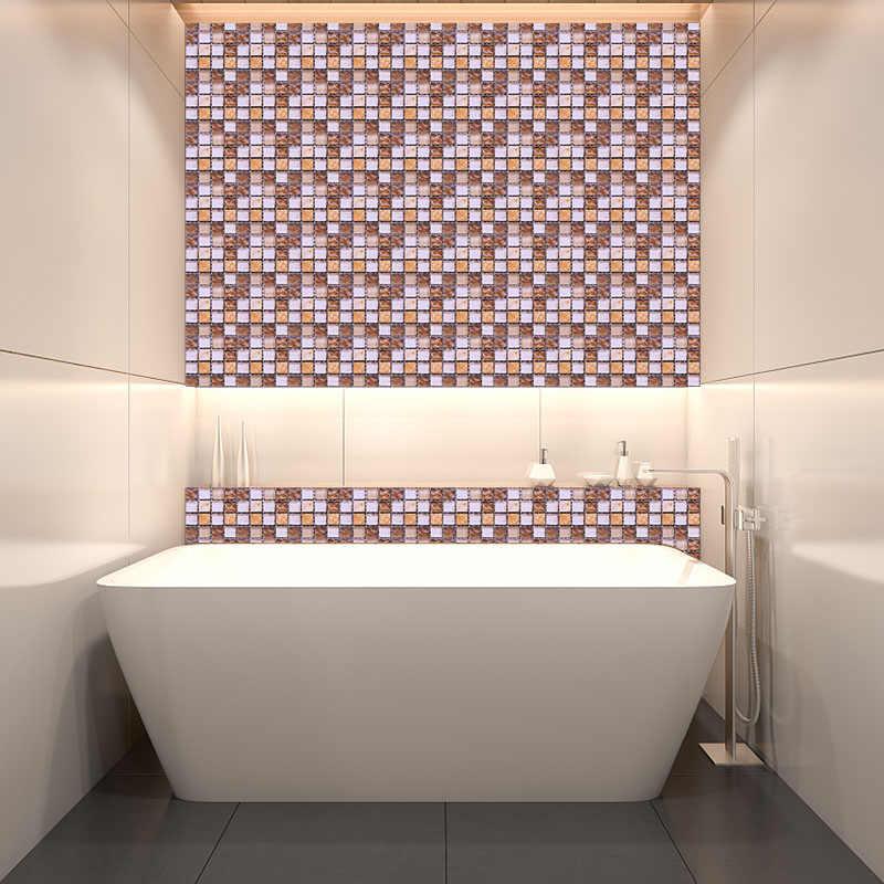 10 قطعة 10 سنتيمتر البلاط وهمية شقة الجدار ملصق الذاتي لاصق فسيفساء الجدار ملصق للحمام المطبخ الجدار ملصق مقاوم للماء ديكور المنزل