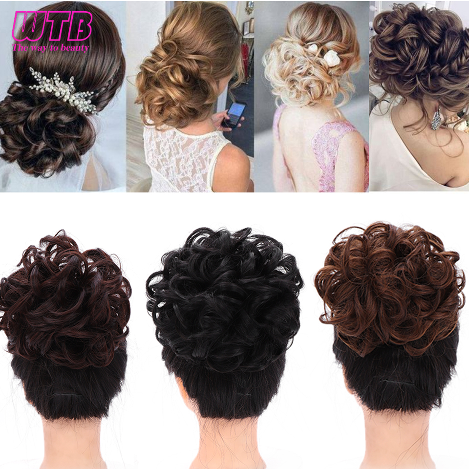 WTB Synthetic Wavy  Comb Clip In Hair Pieces Chignon Elastic Band Chignon Hair Extensions For Women Hair Accessory