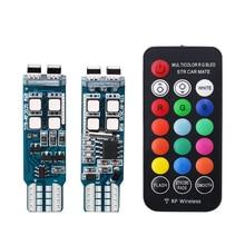 RGB T10 W5W 3535 10SMD RF 화려한 자동차에 대 한 다채로운 LED 마커 램프 클리어런스 조명 원격 제어 깜박이 넓은 램프 12V