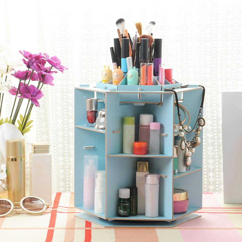 Wooden 360 Degrees Rotatable Makeup Cosmetics Jewelry Storage Box Case Organizer For Cosmetics Dresser Desktop