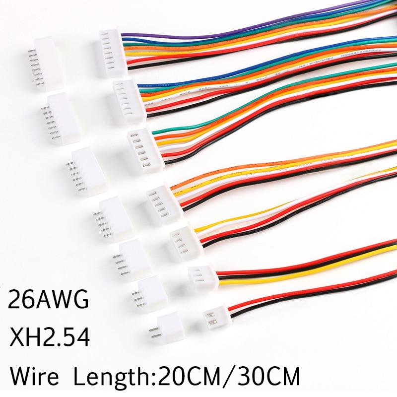 10 комплектов XH2.54 проводной кабельный терминал провод JST Штекерный разъем 2/3/4/5/6/7/8/9/10 контактов 2,54 шаг 300 мм/200 мм кабель 26AWG