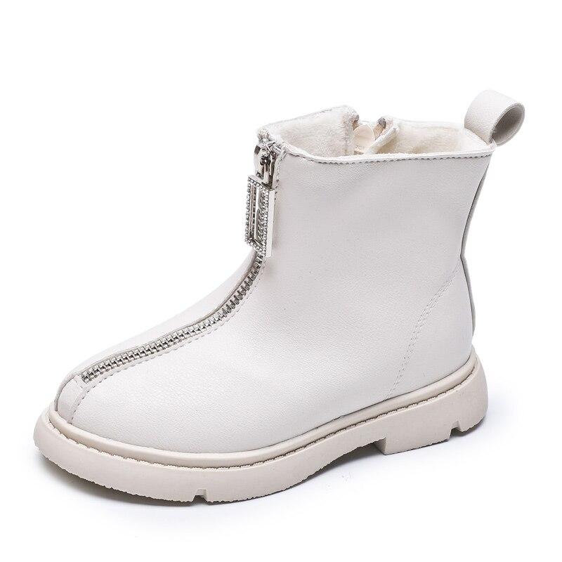 2019 Autumn New Children Boots Waterproof Pu Leather Front Zip Design Girls Martin Boots Soft Sole Fashion Kids Boots EU 26-36