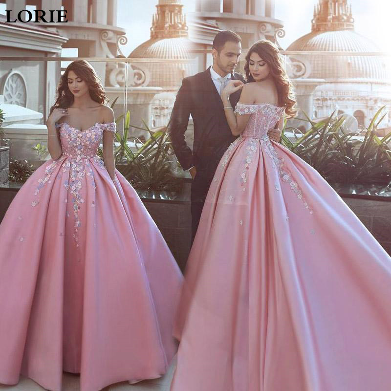Lorie Pink Wedding Dresses 2020 Ball Gowns Vestido De Novia Satin Off The Shoulder Wedding Bride Dresses Boho Multi-color