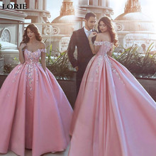 Lorie Pink Wedding Dresses 2020 Ball Gowns Vestido de novia Satin Off The Shoulder Bride Boho Multi-color