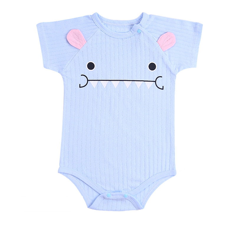 Newborn Baby Rompers Unisex Infant Clothes Cotton Short Sleeves Baby Boy Girl Clothing Cute Cartoon O-Neck Striped 0-24M