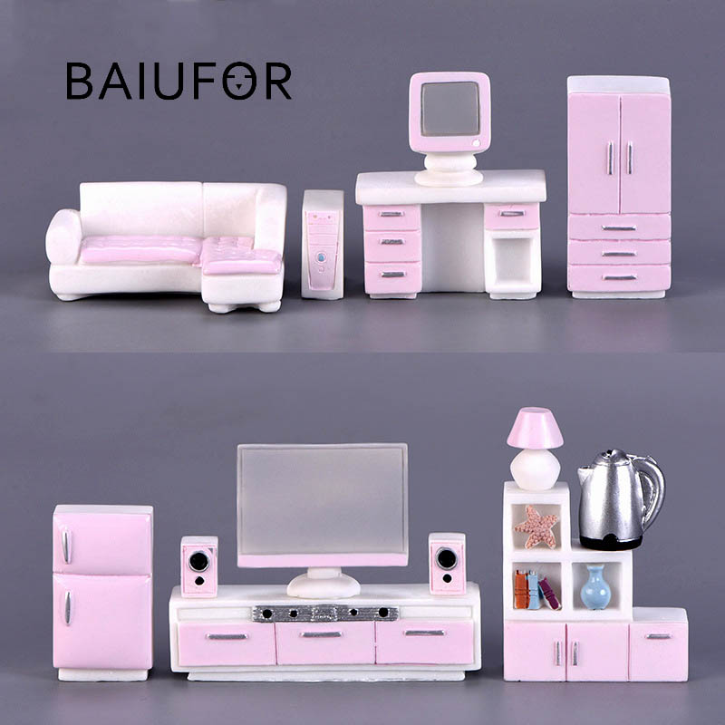 BAIUFOR Miniatures, Doll Houses Decor, Furniture Model Sofa TV Cabinet Bookcase Lamps Stools Terrarium Accessories Figurines