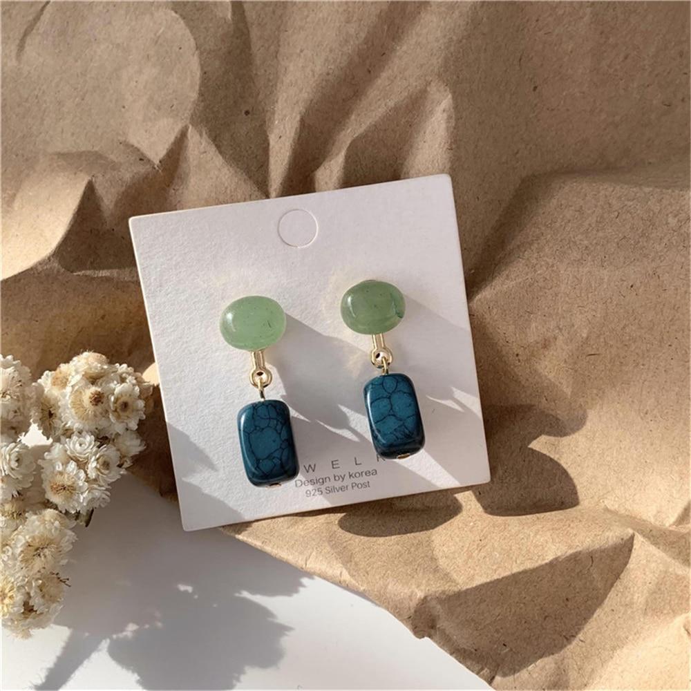 Женские серьги-гвоздики в стиле Хан, синие и зеленые серьги геометрической формы, ювелирные изделия
