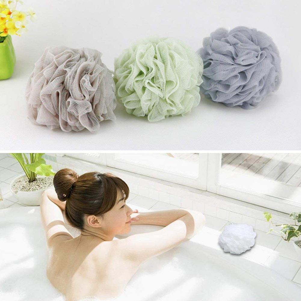 4Pcs Plain Colour Flower Towel Body Cleaning Tool Super Soft Elastic Hanging Big Shower Ball Mesh Bath Bathroom Supplies