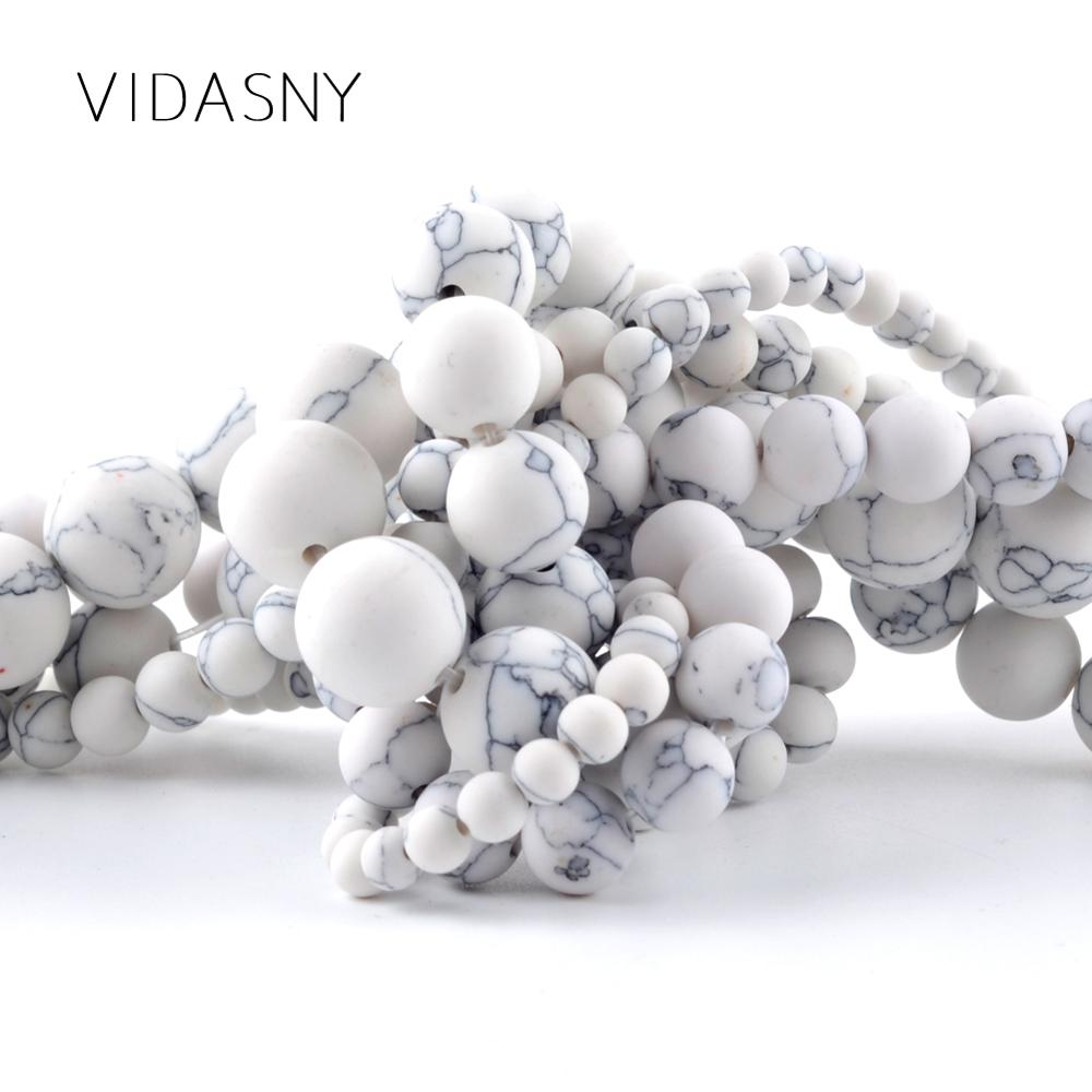 """Dull Polished Howlite Stone Beads For Needlework Jewelry Making 4 6 8 10 12mm Matte Round Beads Diy Bracelet Necklace 15"""""""