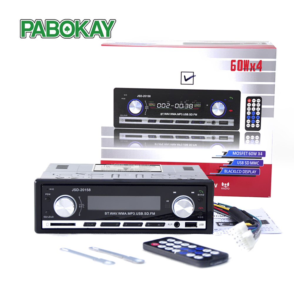 JSD20158 1 Din Car Audio Auto Radio Stereo Music Bluetooth MP3 Player FM Tunner Autoradio AUX Input Radios  USB Charger Port|Car Radios| |  - title=