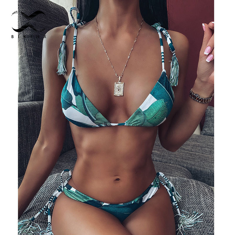 Tropical Print Bikini Set Triangle Swimwear Women Tassel Bathing Suit 2020 Fashion Summer Bathers String Bandage Swimsuit Female