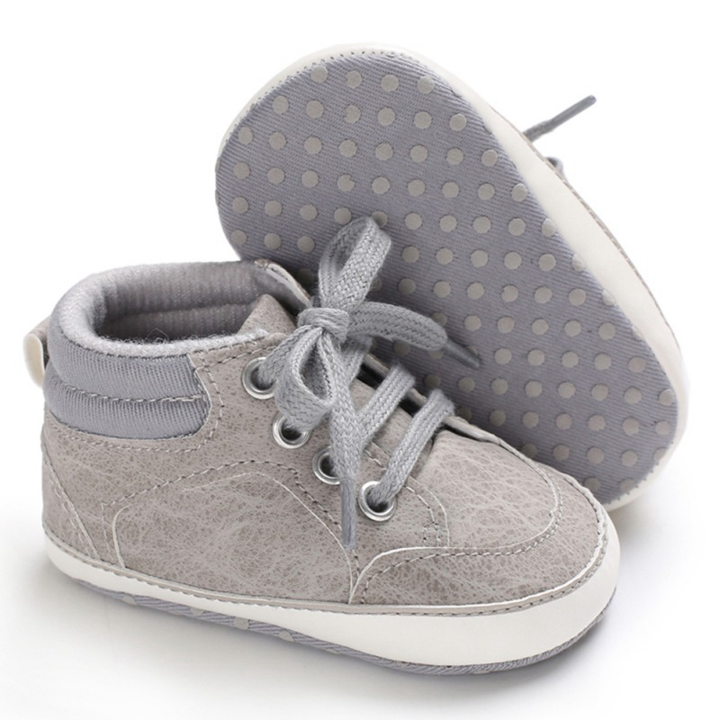 gray lace baby and toddler first walker shoes
