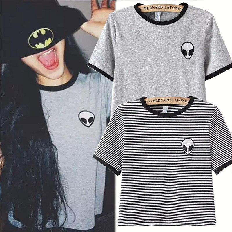 2019 Harajuku New Fashion Girls T Shirt Women Printed Tops Gray/Stripe Tee Summer Style T-shirt Plus Size Woman Casual T Shirts