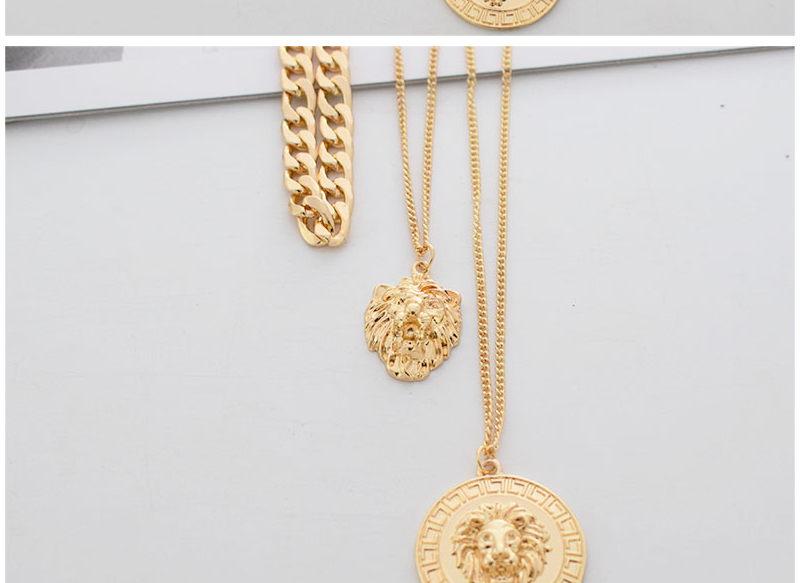 H1484b9238609457f86d8602e3fe095aev - Punk Style Statement Metal Gold Color Chain Multi Layer Necklaces Lion Pattern Round Coin Pendant Necklace For Women Party
